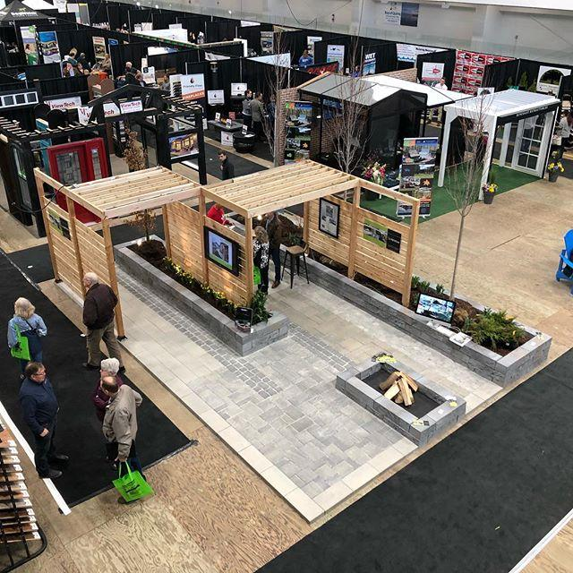 Wrapping up the final day of the Quinte Home + Lifestyle Show and sharing some of the design details within our booth. We featured six varieties of pavers from @techobloc as well as their #rocka wall product. We also gave the booth some architectural interest with custom cedar privacy screens and pergolas. We made and made it pop with tree and shrub plantings and landscape lighting thanks to our friends at Classic Landscape Lighting @techo.peter @quintehomebuilders #hardscapelife #designbuild #landscapequinte #landscapedesign #landscapebelleville  #antika #eva #blu #para #villagio
