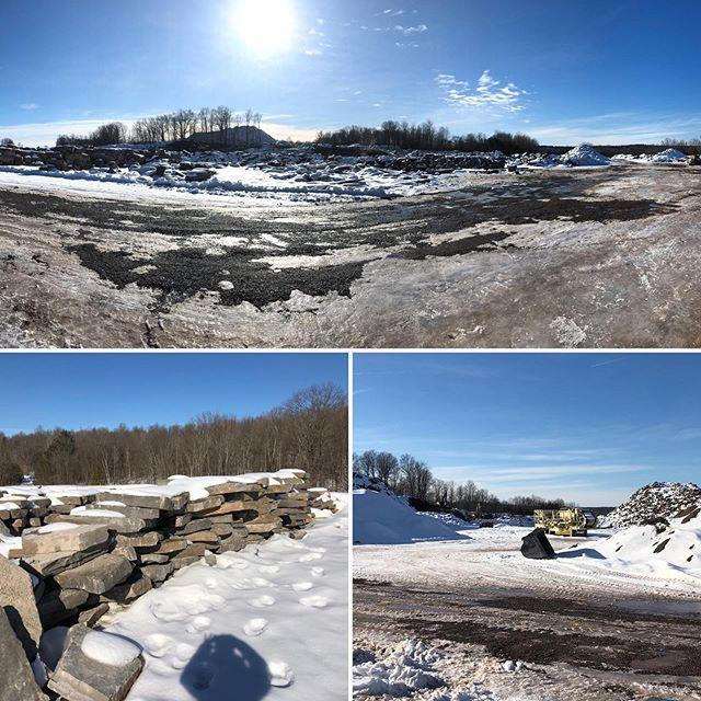 Beautiful winter afternoon for a quarry visit and material selections at Upper Canada Stone Company. Thanks to @uppercanadaquarryguy for the tour! #naturalstone #slabsteps #armourstone #ledgestone #handstack